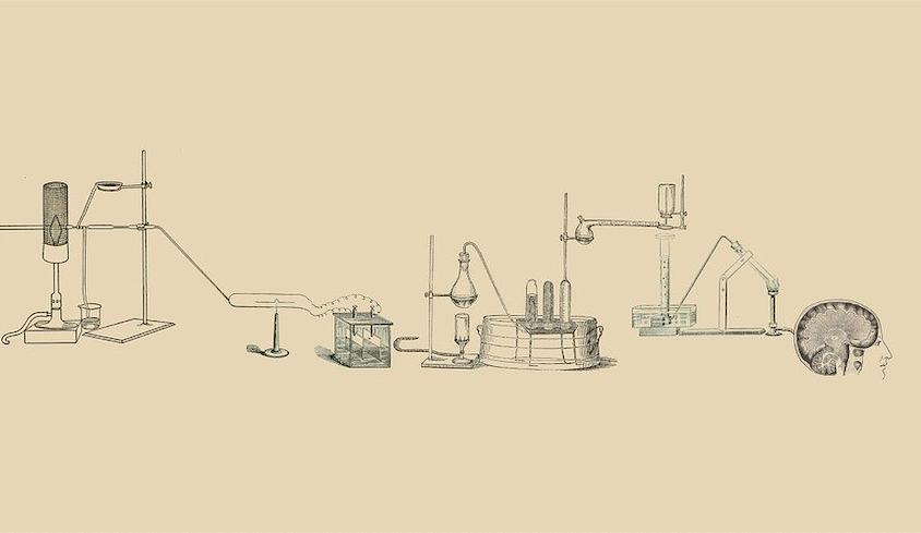 Sketch of a chemistry lab process ending in a brain